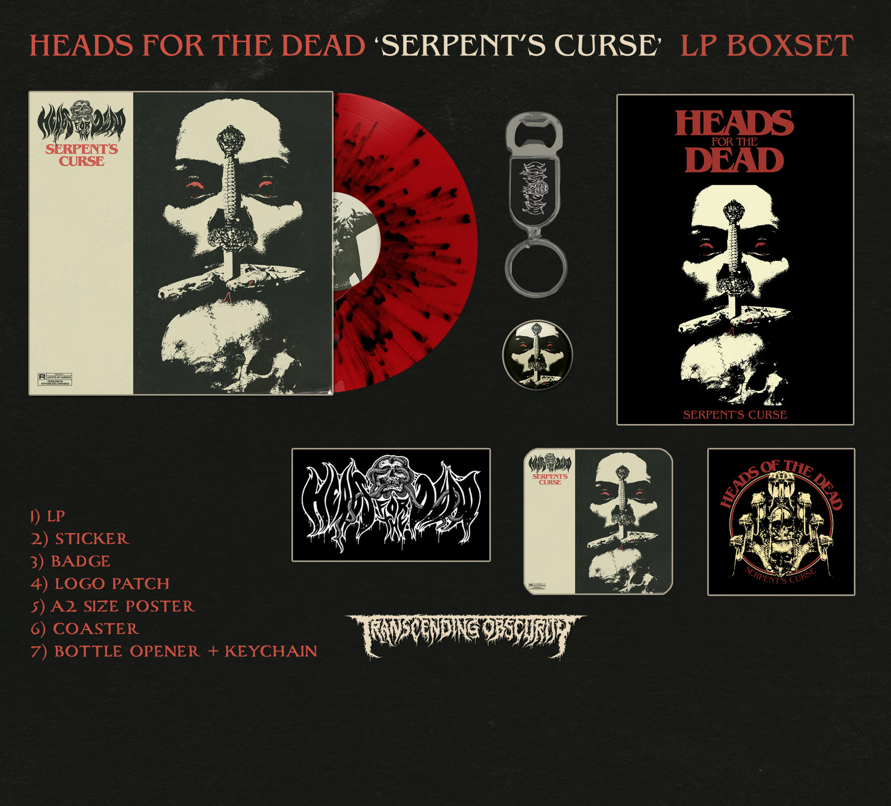 HEADS FOR THE DEAD (International) - Serpent's Curse Red LP Box Set (Limited to 100)