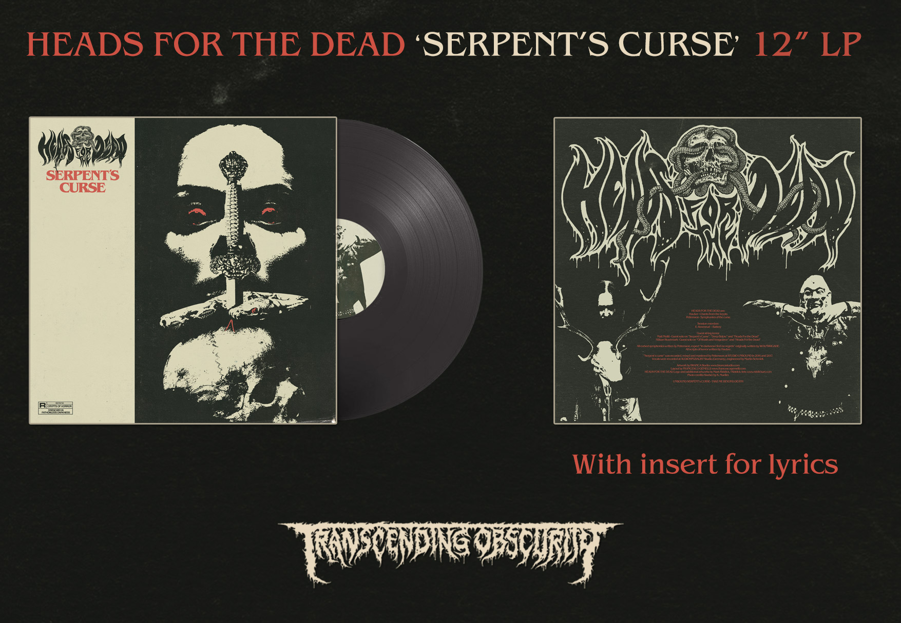 HEADS FOR THE DEAD (International) - Serpent's Curse Black LP (Limited to 100)