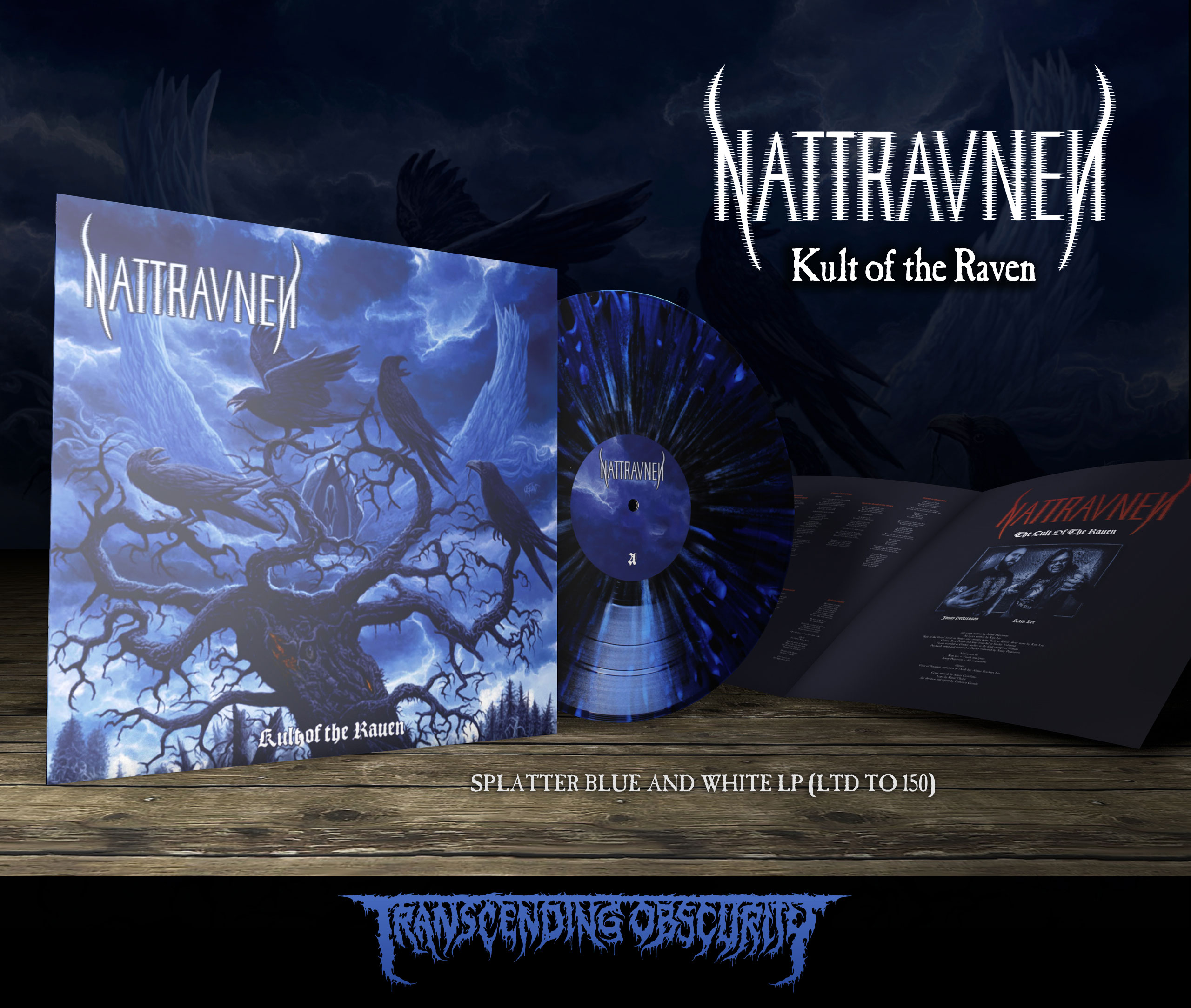 NATTRAVNEN (US/UK) - 'Kult of the Raven' Dark Blue and White Splatter LP with 4-Page Story Booklet