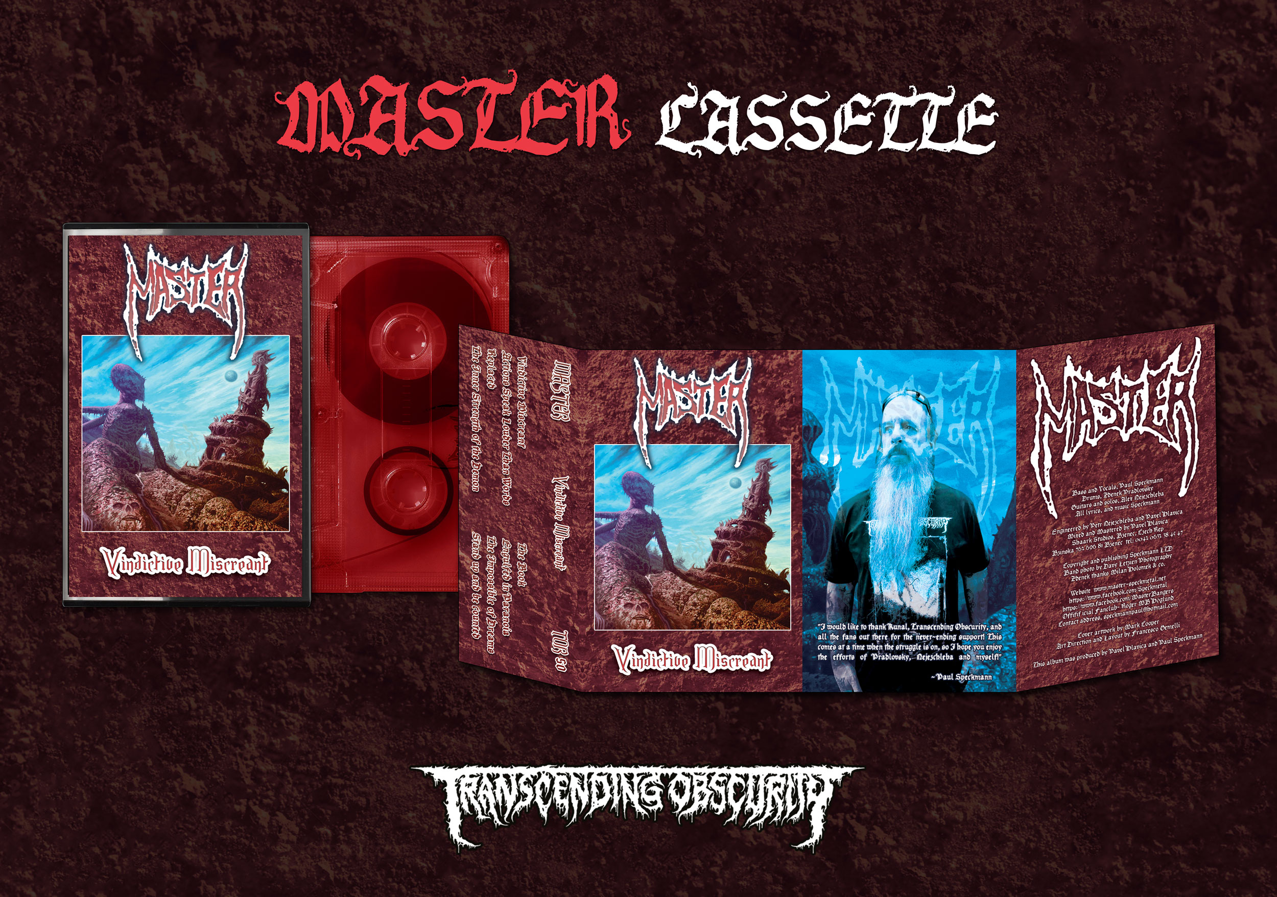 MASTER (Czech Republic) - Vindictive Miscreant Red Cassette with 5-panel J-card (Limited to 100)