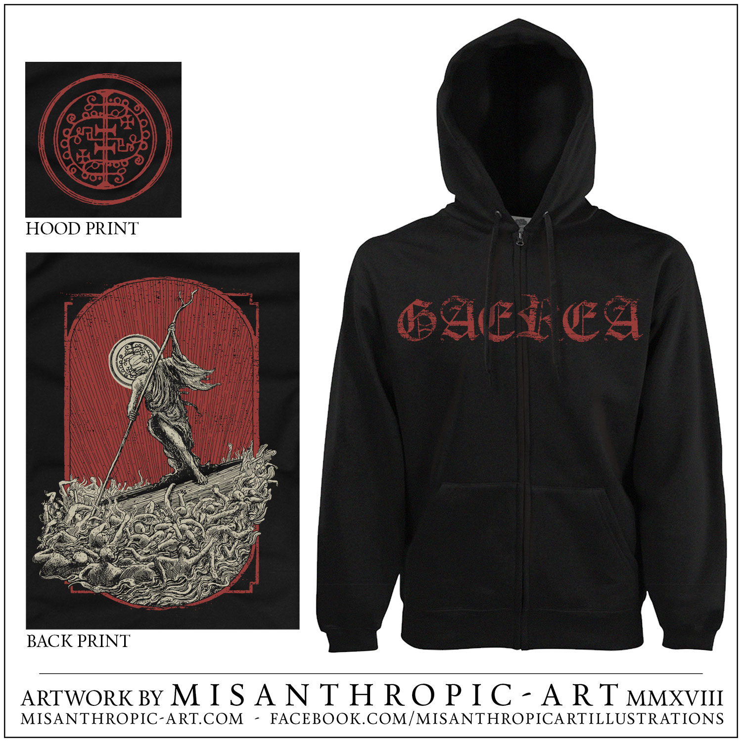 GAEREA (Portugal) - 'Unsettling Whispers' Zipped Hoodies (Gildan Size) with Hood Print
