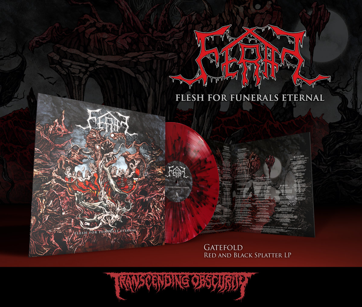 FERAL (Sweden) - 'Flesh For Funerals Eternal' Gatefold Red and Black Splatter LP (Limited to 150)