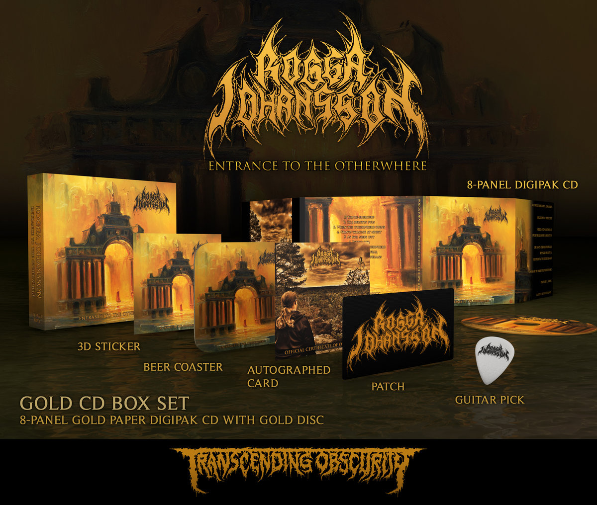 ROGGA JOHANSSON - Entrance to the Otherwhere (Death Metal) Autographed Gold CD Box Set (Limited to 150)