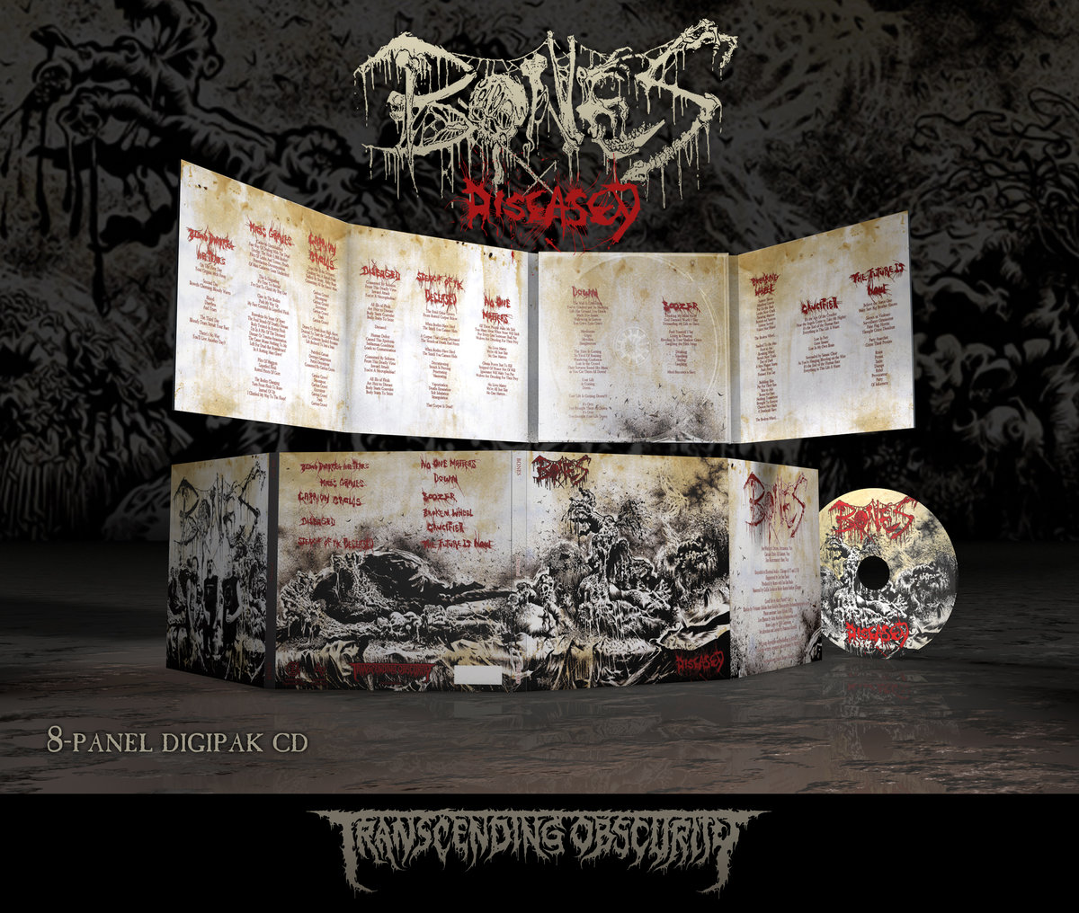 BONES - Diseased 8-Panel Digipak CD in Gold Paper (FREE BADGE WITH ALL PRE-ORDERS!)