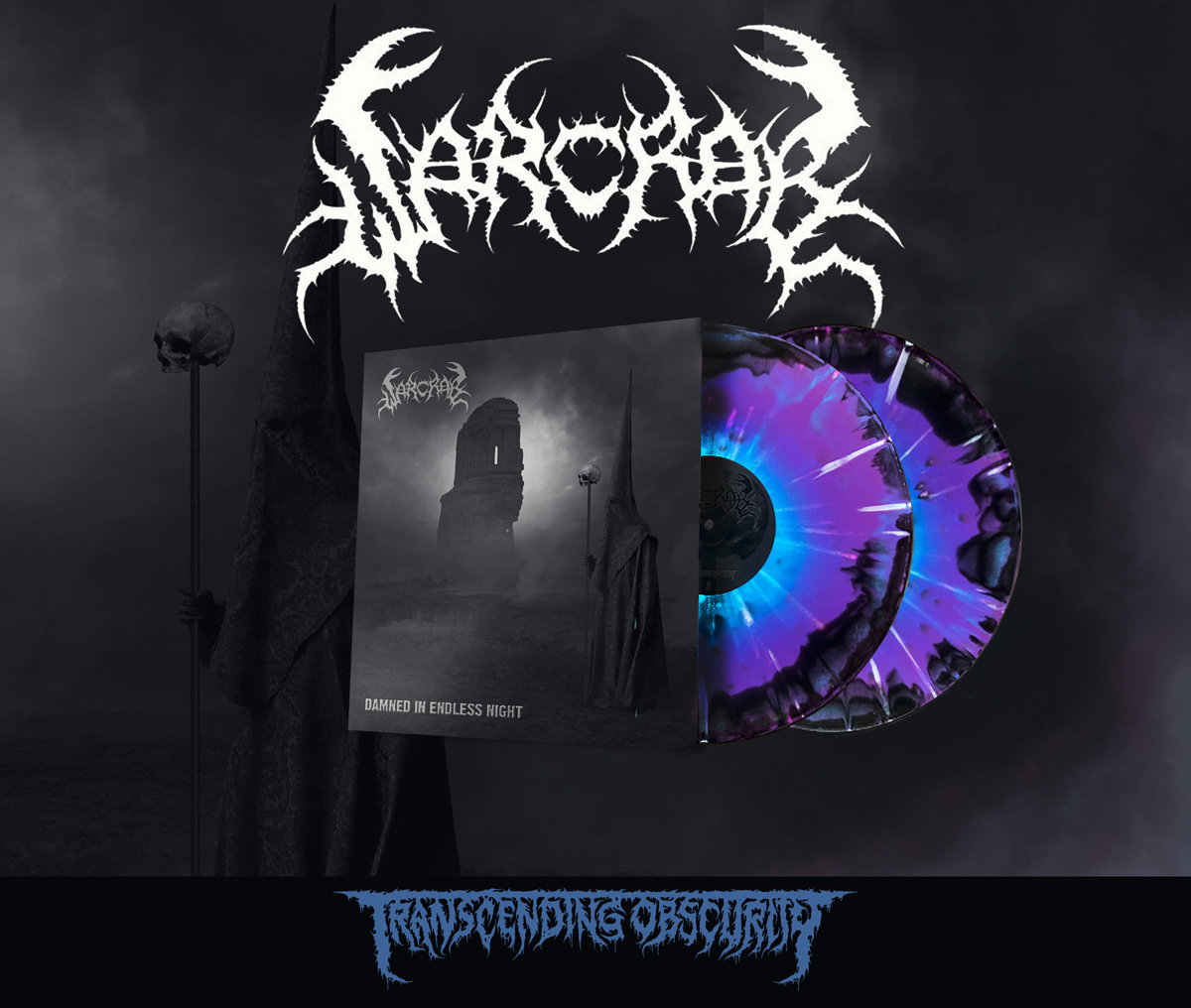 WARCRAB Blue/Purple Merge with Splatter Double LP with silver effect sleeves with embossing and UV lamination (Limited to 100)