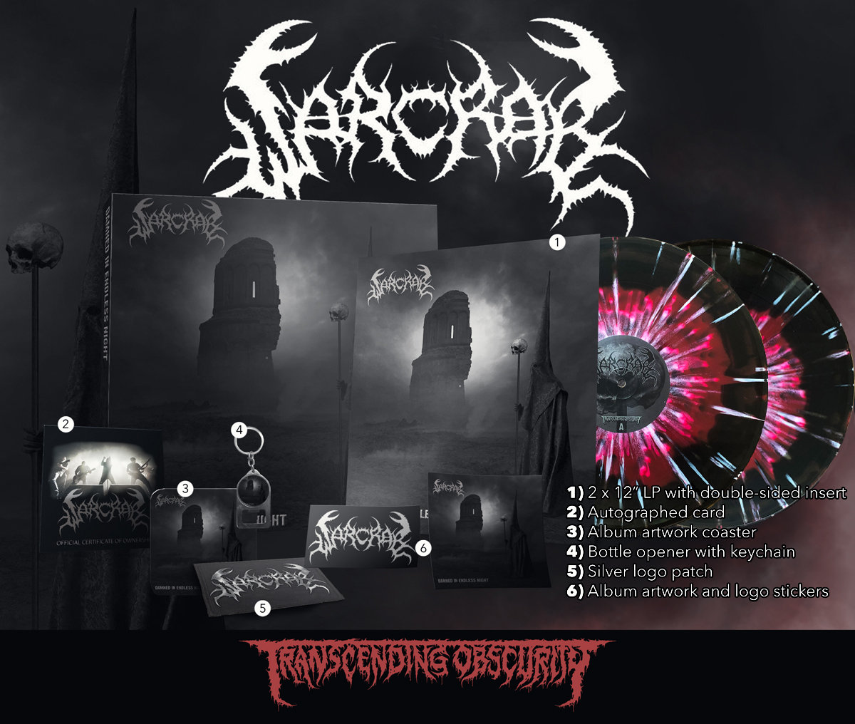 WARCRAB Red/Black Merge with Splatter Double LP with silver effect sleeves with embossing and UV lamination (Limited to 100)