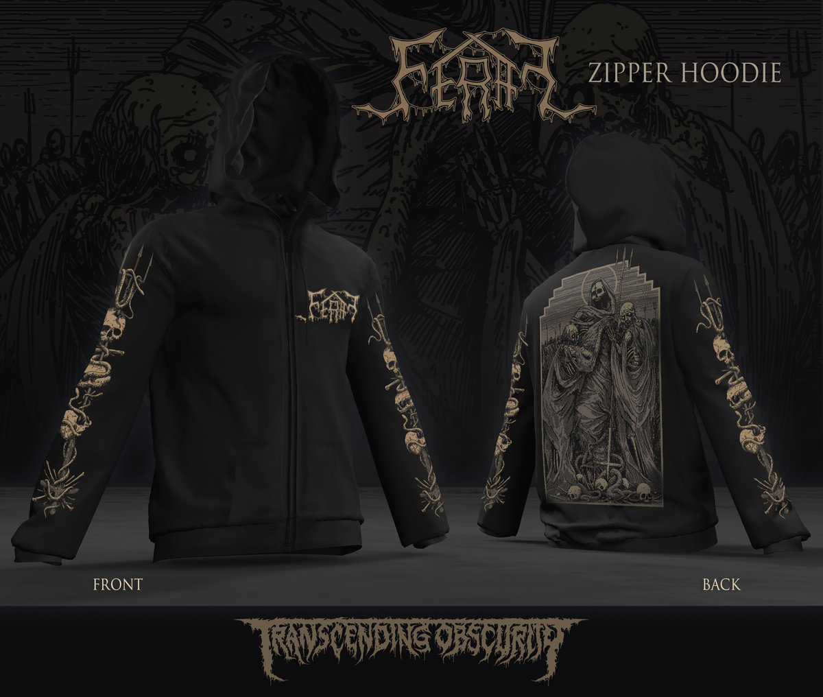 FERAL Zipped Hoodie (Front, black and sleeve prints x 2)