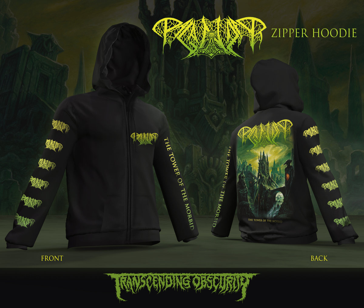 PAGANIZER - Tower of the Morbid Zipped Hoodie (Limited to 35)