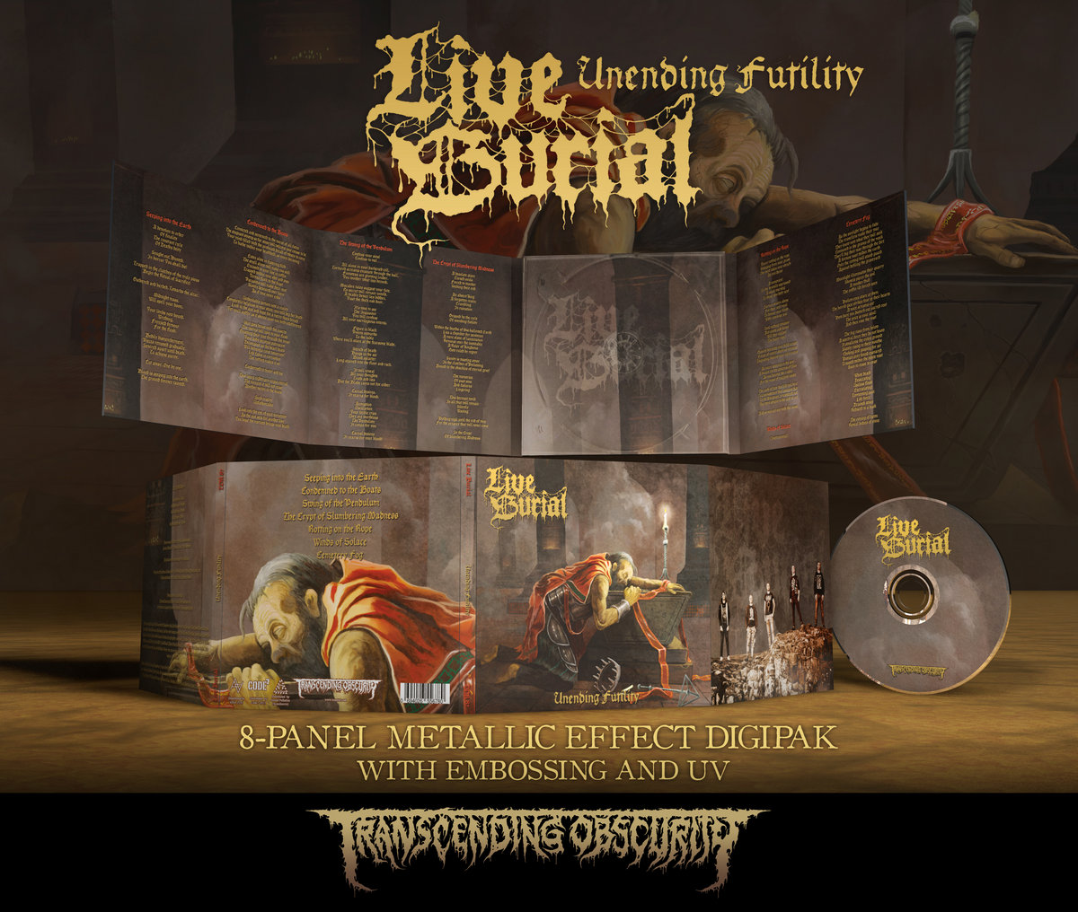 LIVE BURIAL - Unending Futility 8-Panel Metallic Effect Digipak CD with UV Lamination and Embossing