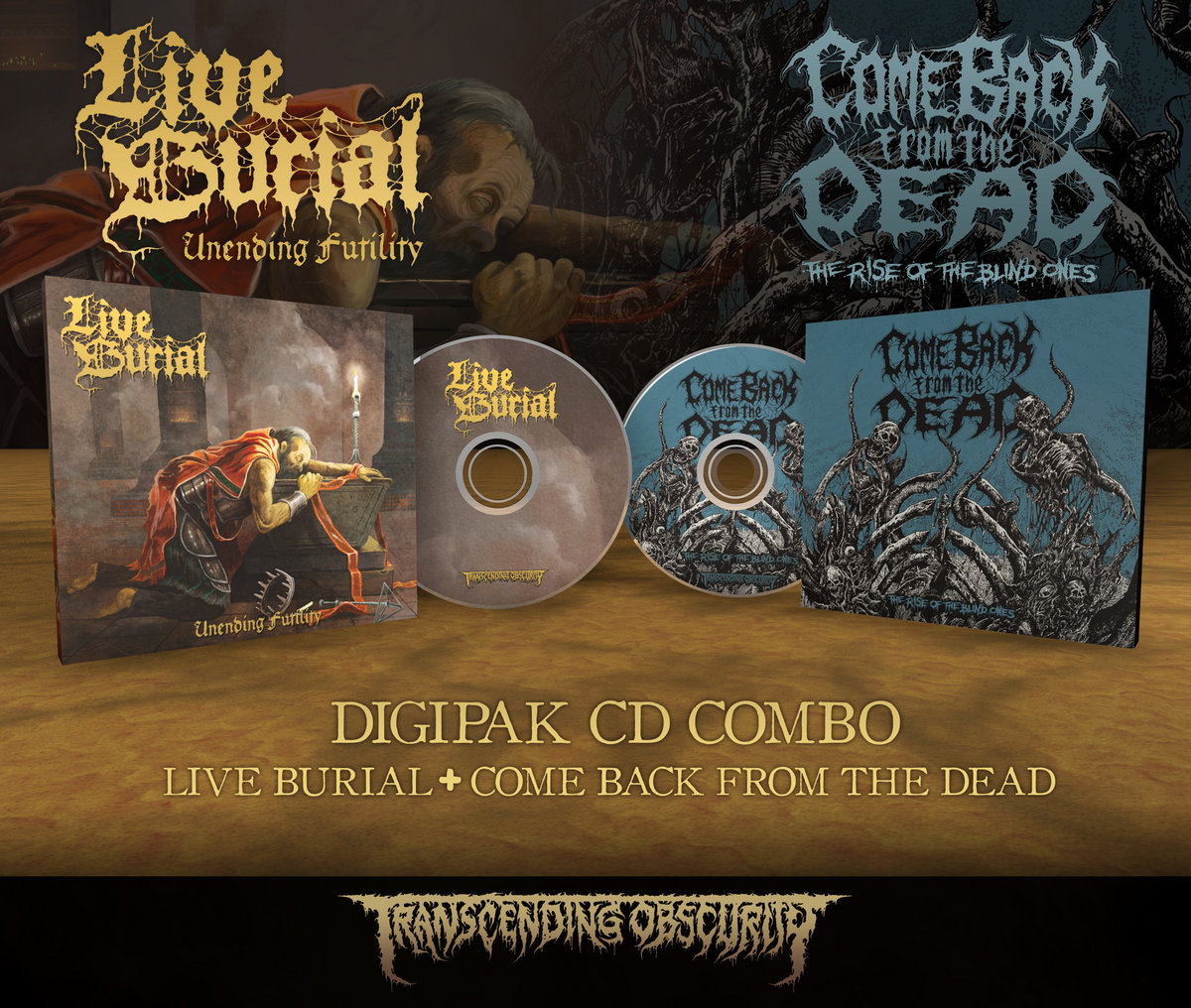 LIVE BURIAL + COME BACK FROM THE DEAD 8-Panel Digipak CD Combo