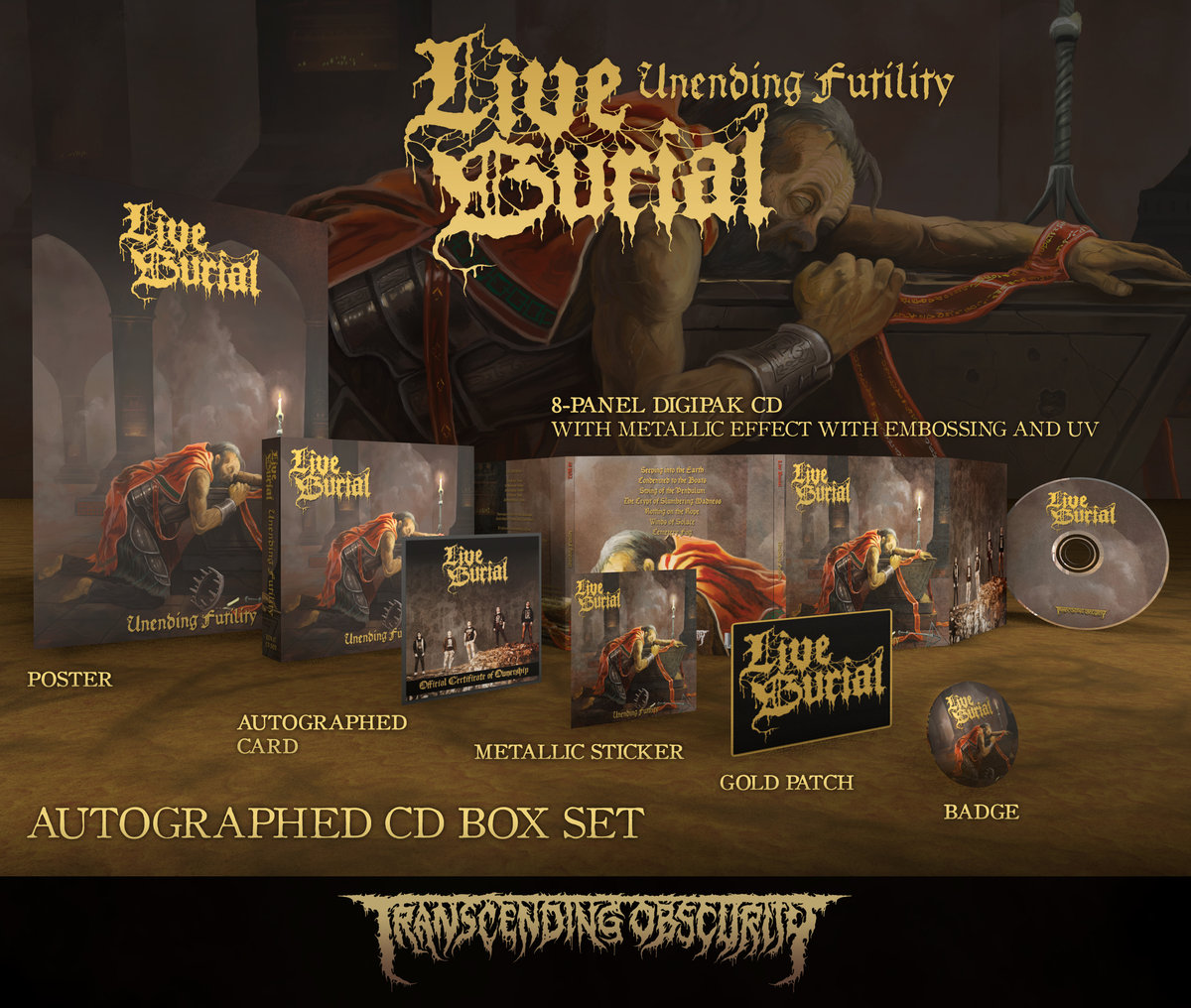 LIVE BURIAL Gold-embossed Autographed CD Box Set (Limited to 150)