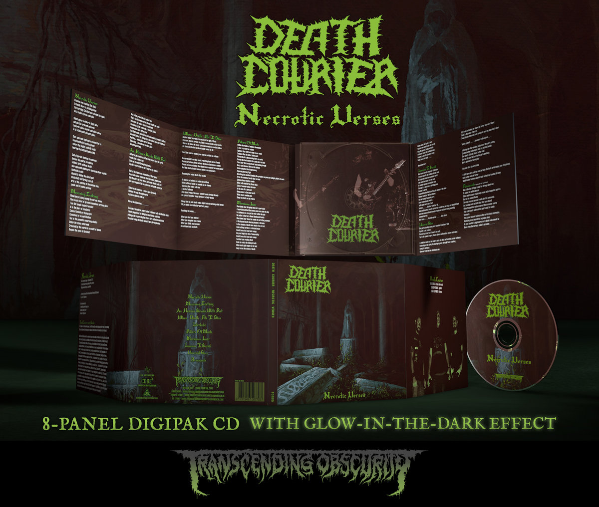 DEATH COURIER (Greece) - Necrotic Verses (Death Metal) Glow-in-the-dark Effect 8-Panel Digipak CD