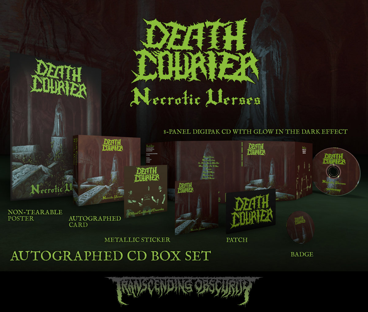 DEATH COURIER Metallic Green-embossed Autographed CD Box Set (Limited to 100)