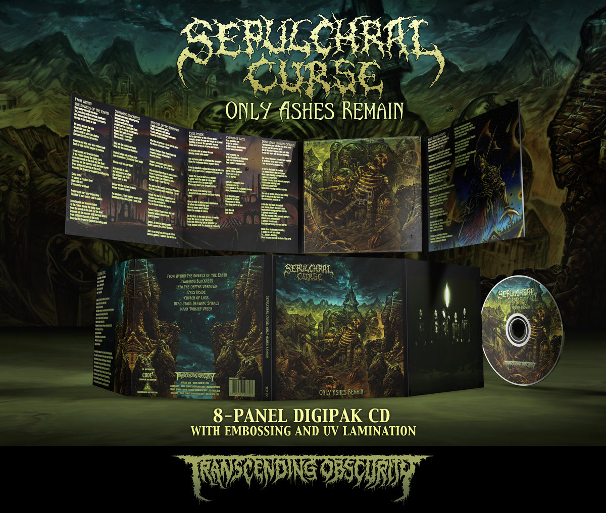 SEPULCHRAL CURSE - Only Ashes Remain 8-Panel Digipak CD with Embossing and UV Lamination