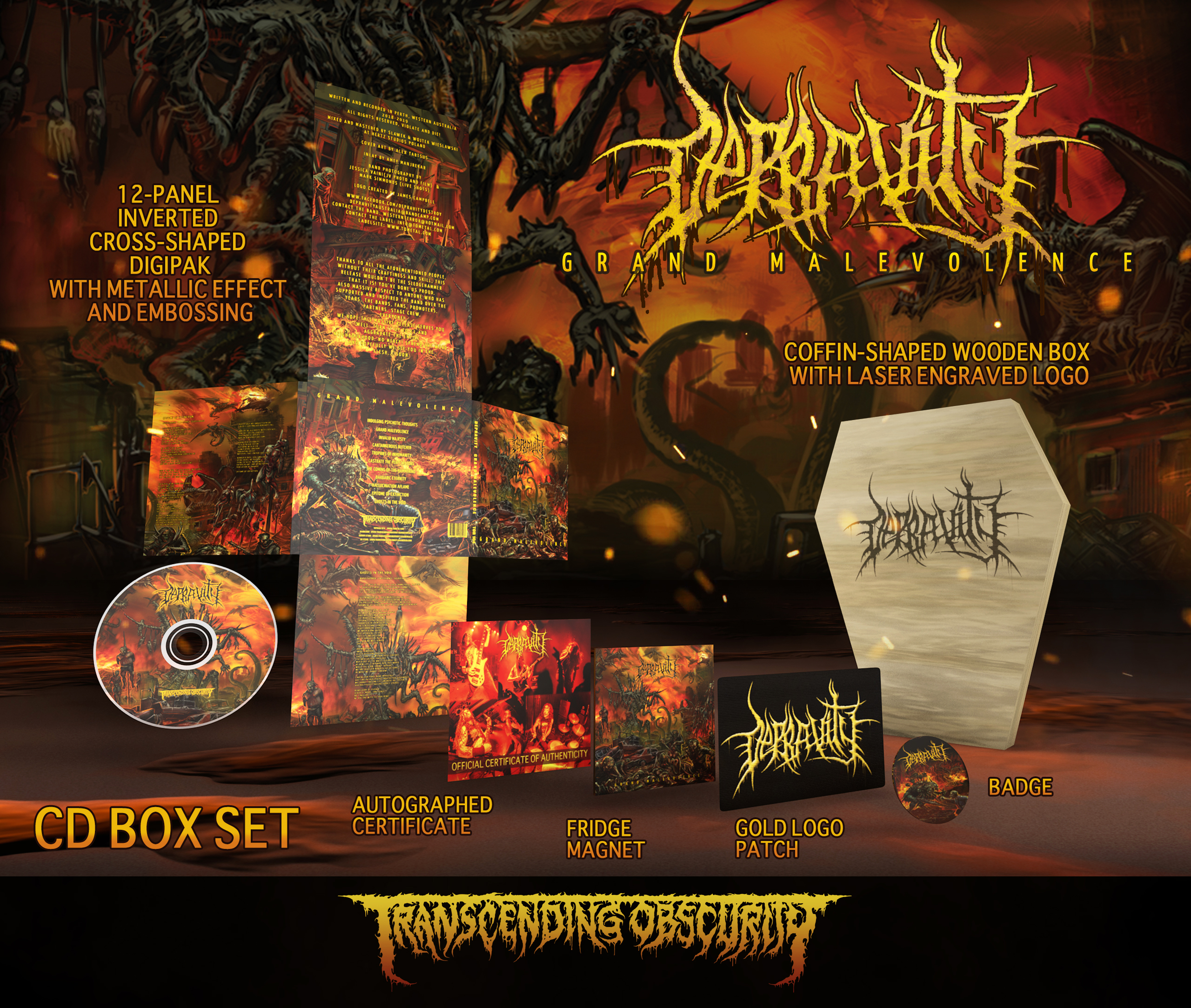 DEPRAVITY (Aus) - Grand Malevolence Wooden Coffin-Shaped CD Box Set (Limited to 100)