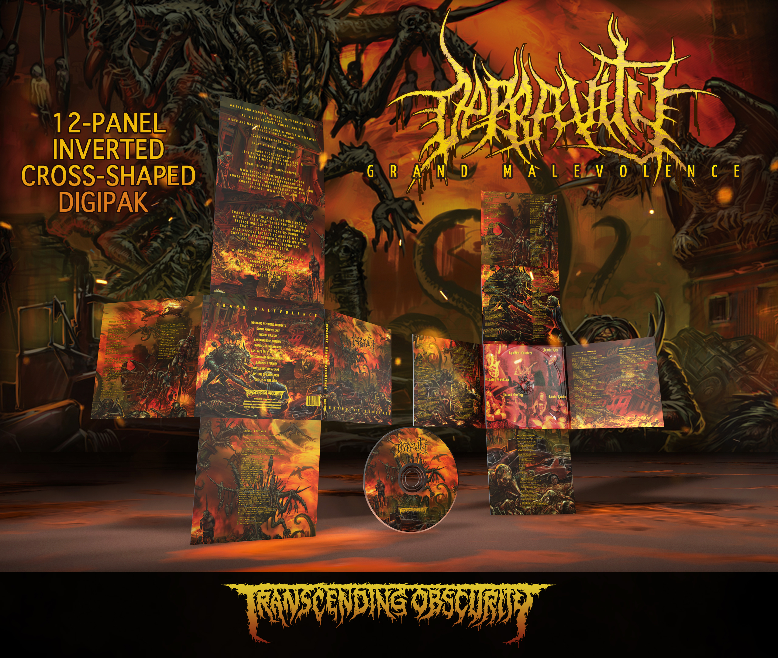 DEPRAVITY (Aus) - Grand Malevolence 12-Panel Inverted Cross-Shaped Digipak CD