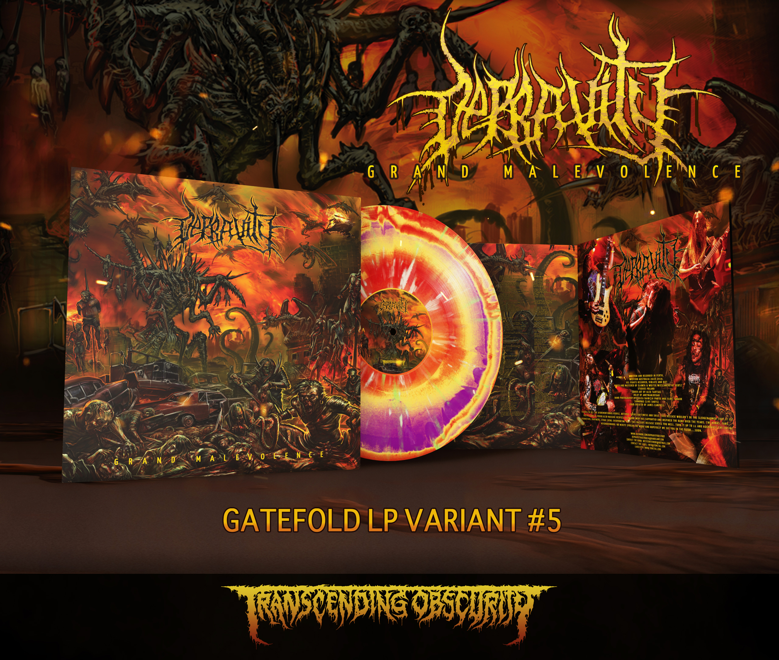 DEPRAVITY - 'Grand Malevolence' Gatefold LP with Metallic Sleeve and UV Embossing