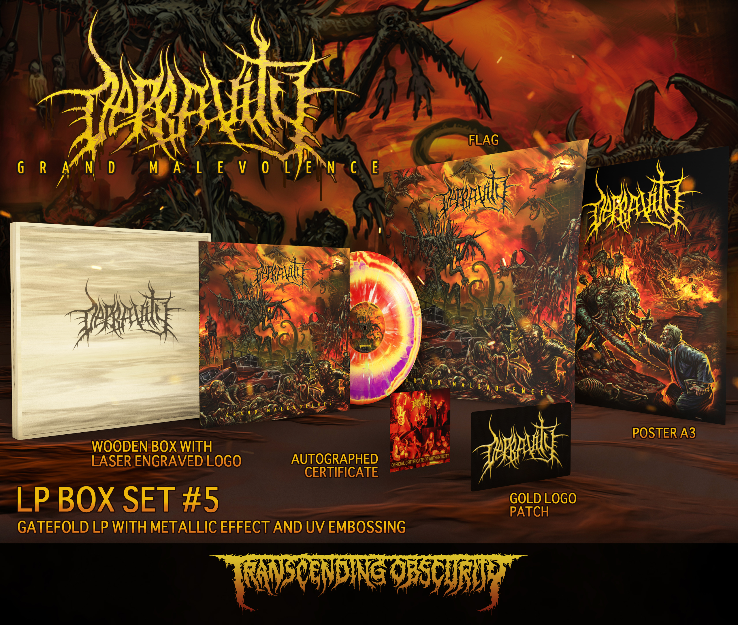 DEPRAVITY - 'Grand Malevolence' Wooden LP Box Set with Engraved Logo
