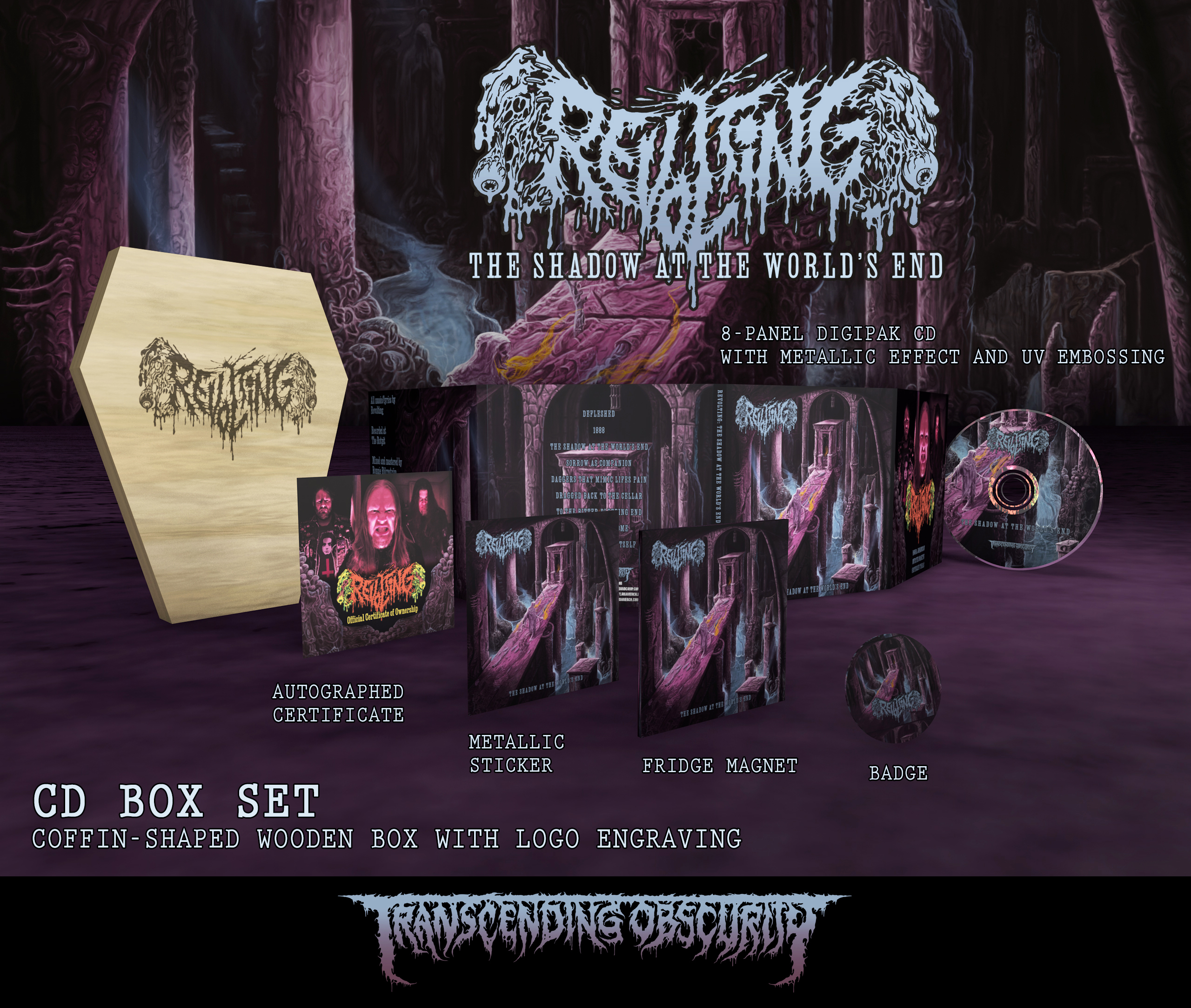 REVOLTING - The Shadow At The World's End Coffin-Shaped Wooden CD Box Set (Limited to 100)