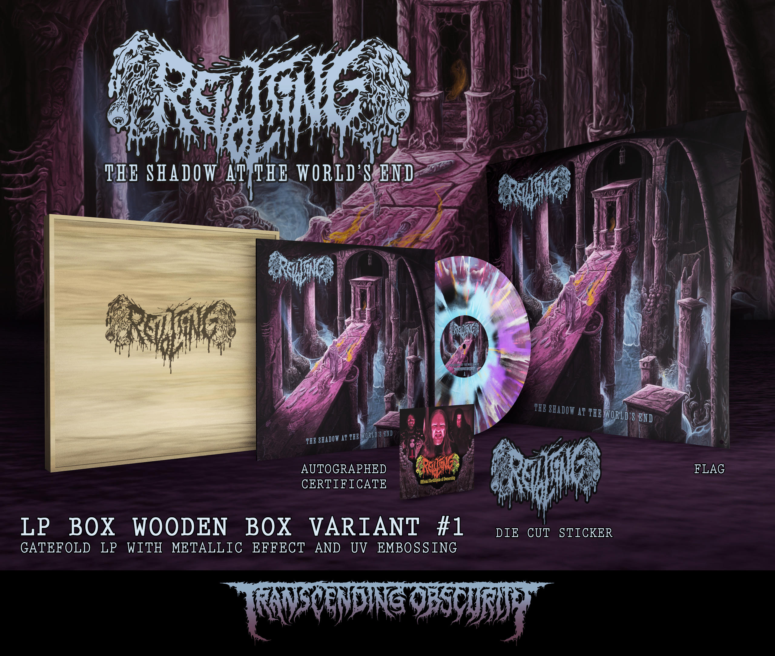 REVOLTING - The Shadow At The World's End WOODEN LP Box Set with Laser Engraved Logo (Limited to 20)
