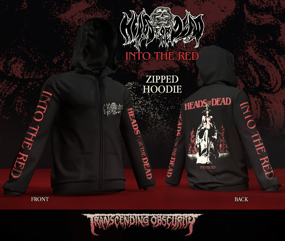 Heads For The Dead - Into The Dead Album Artwork Zipped Hoodie (Limited to 30 nos.)