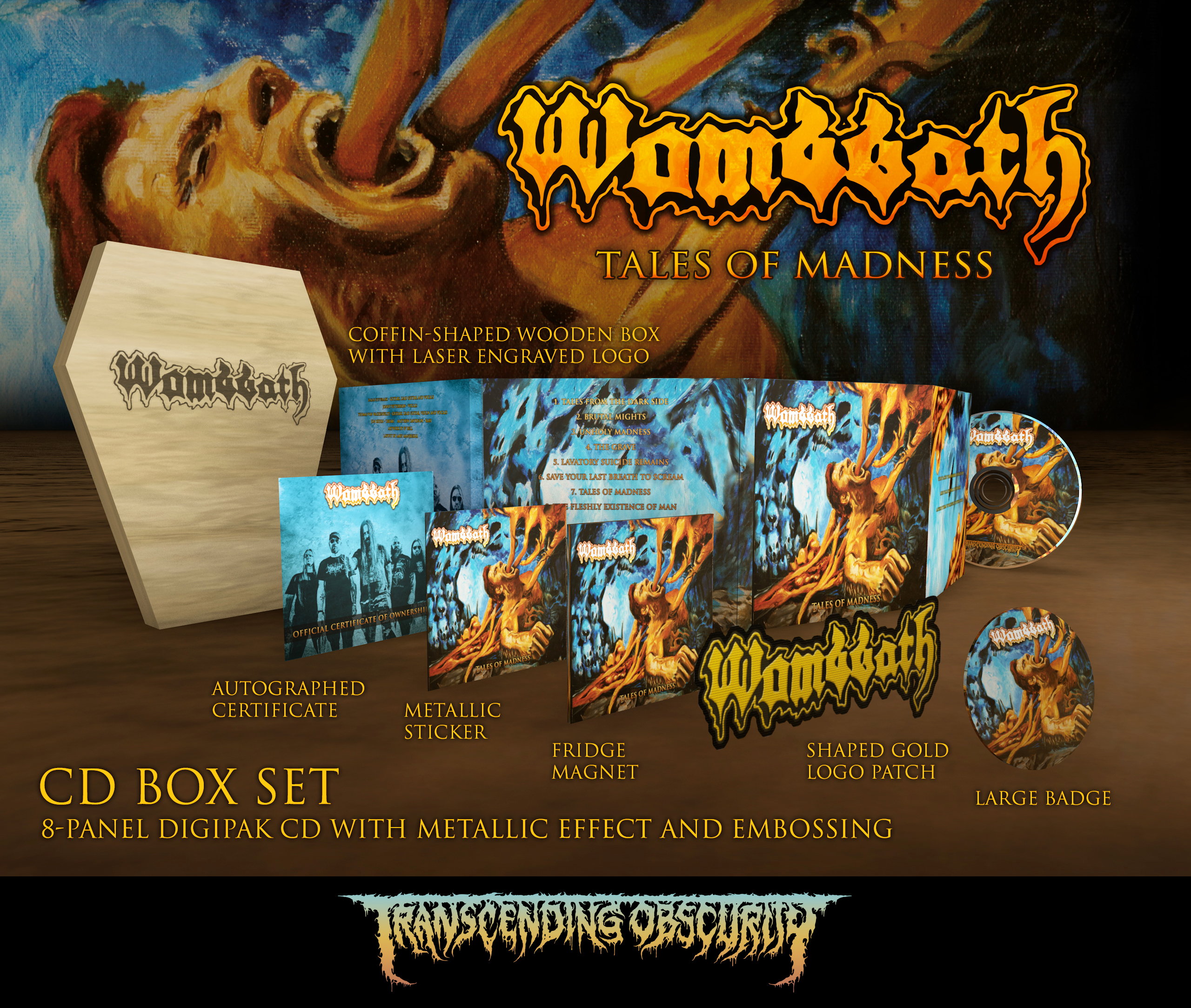 Wombbath - Tales Of Madness Coffin-Shaped Wooden CD Box Set (Limited to 100 nos.)
