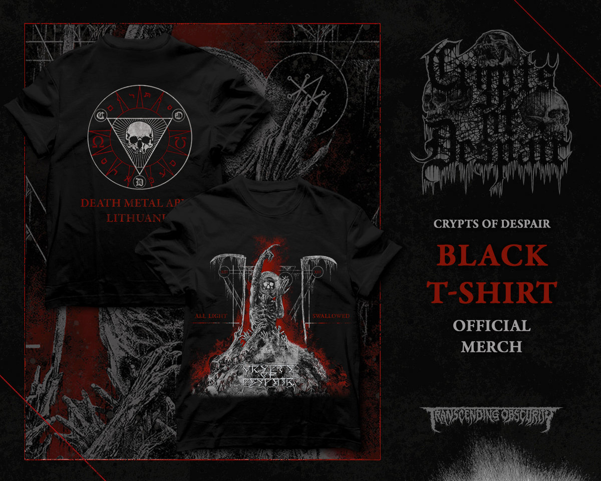 CRYPTS OF DESPAIR - All Light Swallowed T-shirt (Front and Back Print)