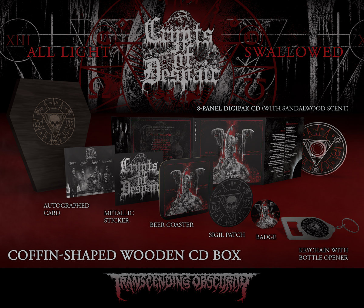 CRYPTS OF DESPAIR - All Light Swallowed Black Coffin-Shaped Wooden CD Box Set with Engraving (Ltd. to 75 nos.)