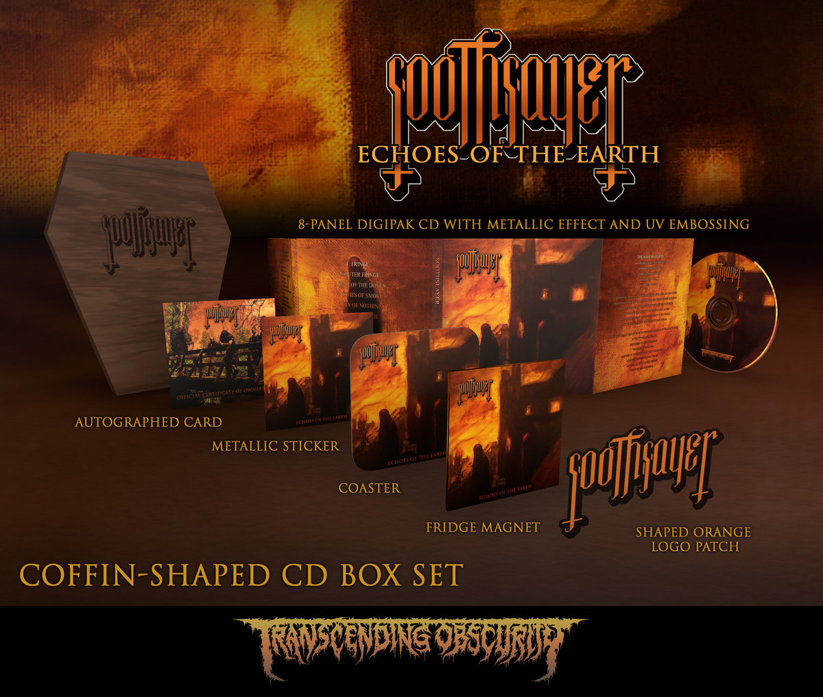 SOOTHSAYER Coffin-Shaped Brown Wooden Autographed CD Box Set (Limited to 50 nos.)