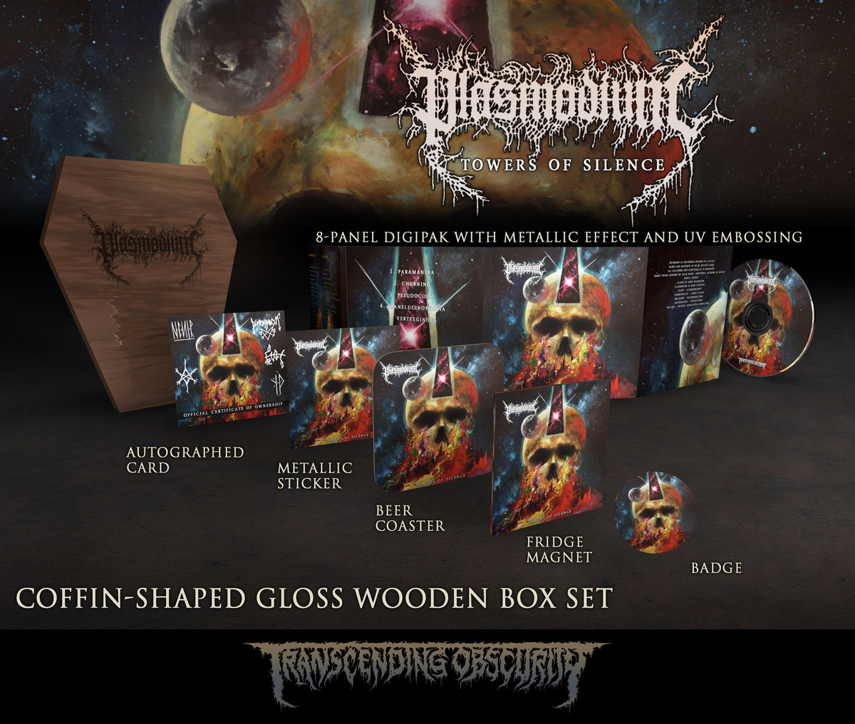 PLASMODIUM Coffin-shaped Light Brown Coloured Gloss Wooden Box Set (Limited to 45 nos.)