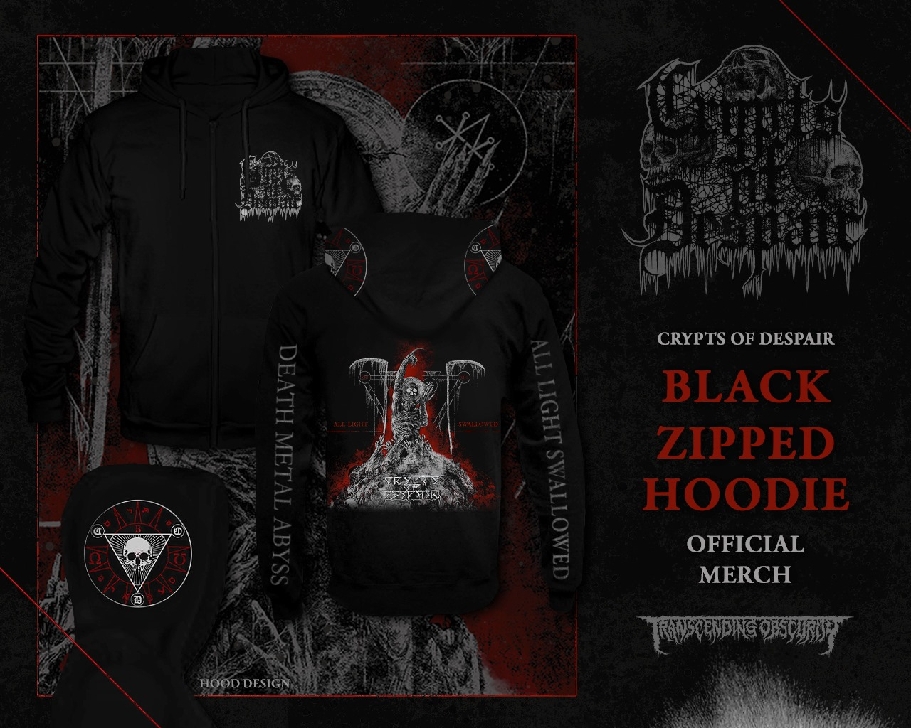 CRYPTS OF DESPAIR - All Light Swallowed Zipped Hoodie with Hood Print