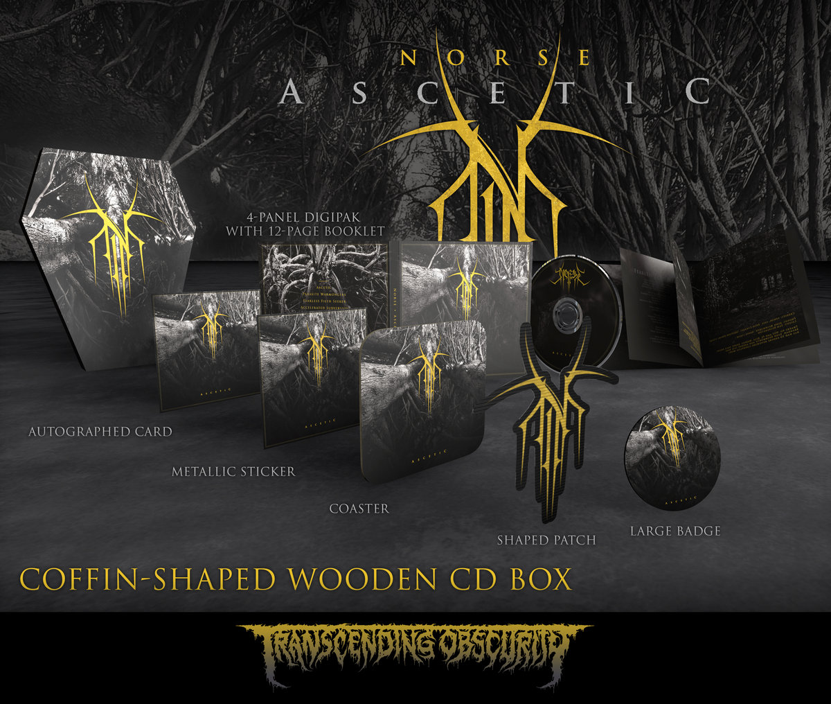 NORSE - Ascetic Coffin-Shaped Wooden CD Box Set with Gold Foiling (Limited and numbered to 75)