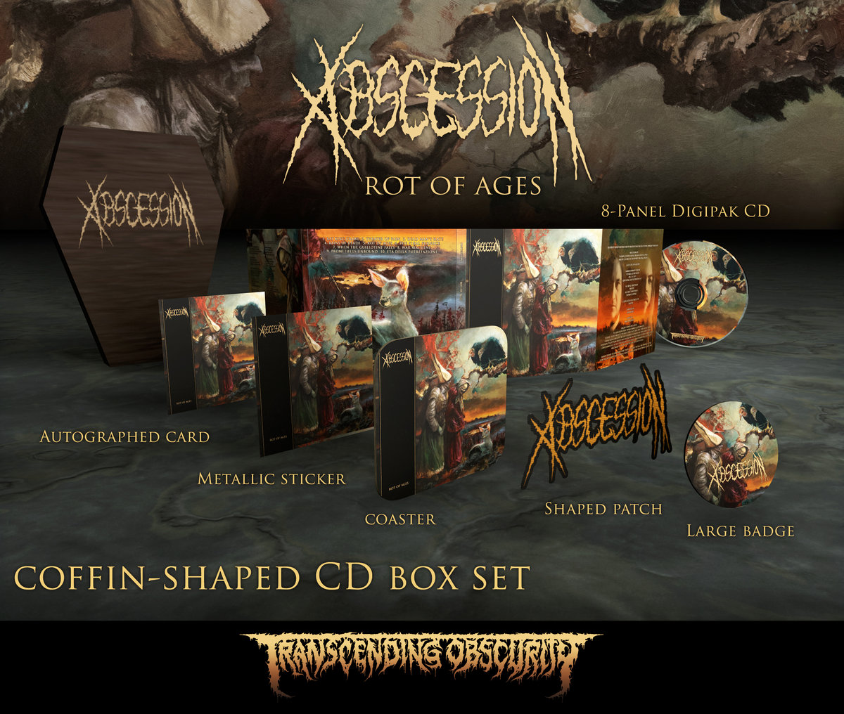 ABSCESSION - Rot of Ages Coffin-Shaped Wooden CD Box Set (Limited and numbered to 75)