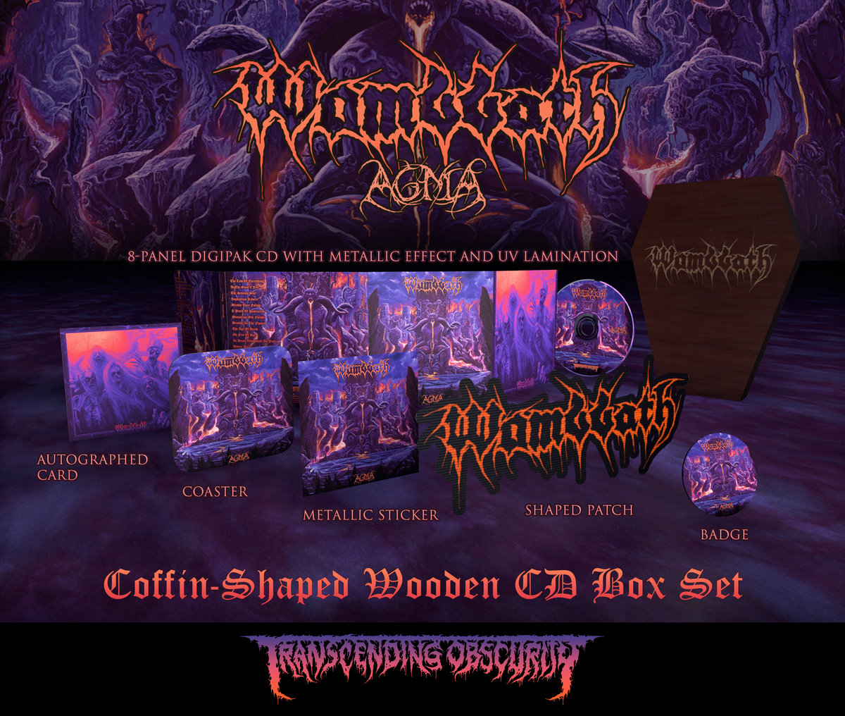 WOMBBATH - Agma Coffin-Shaped Wooden CD Box Set (Limited to 100 copies)